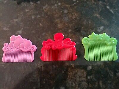 92de92b9f127 3 Vintage Kenner Sea Wees Green Star Red Octopus Pink Bubbles Combs Mermaid  Doll