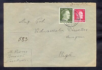 9121 Germany(Ostland),1943,Registered cover from Barkava to Riga with machine ca