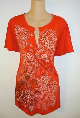 Cato Top Shirt Blouse Orange Cotton Blend Casual Ruched Short Sleeve Size 18/20W