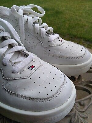 80a5893ccca8 Vintage Tommy Hilfiger Tennis Shoe Men s 10 All White Flag Spell Out
