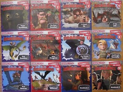 How To Train Your Dragon Phonics Bulk Book Pack - 12 Learn To Read Books - 4+