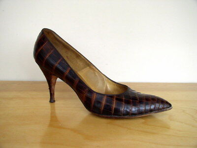 b8c6acf772d Vintage 1950s Womens Alligator Heels Brown Reptile Leather Stilletto Pump 8  AA