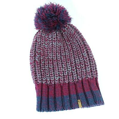 47868205657 Eddie Bauer Blue Maroon Beanie with Pouf Winter Pom Hat Women s One Size