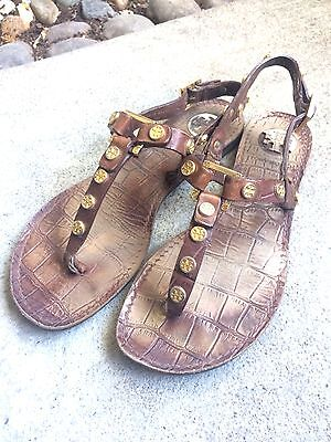 1b2f9c79a46174 Tory Burch Brown Croc Embossed T-Strap Sandals Sz 5 Gold Tone Medallions    Logo