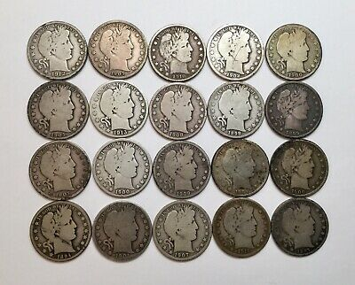 Roll Of 20 Barber Half Dollars Circulated 90% Silver $10 Face (A)