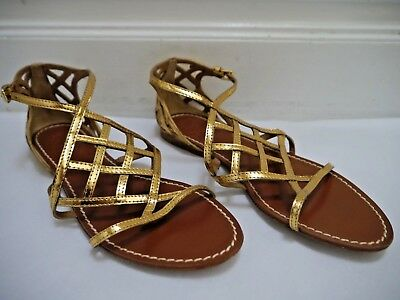 888db900f5b9d TORY BURCH  285 Amalie gold metallic leather gladiator sandals size 8 WORN  ONCE
