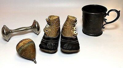 Lot Of 4 Antique Baby Items Sterling Rattle Leather Shoes Wooden Top Pewter Cup