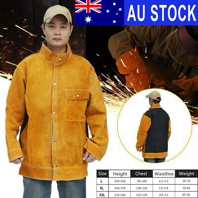 AU XL/XXL Leather Welding Jacket Coat  Clothing Apparel Sleeves Welder Safety