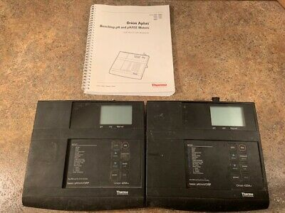 (2) Thermo Orion 420A pH Meters Basic pH/mV/ORP Benchtop Lab 420A+ w/ Manual
