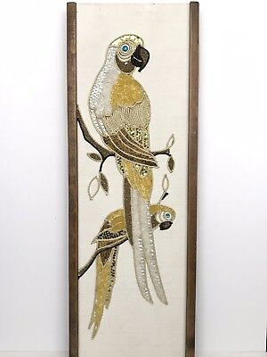 Vintage MCM Parrot Bird Rock Gravel Pebble Art Wall Hanging Picture Yellow White