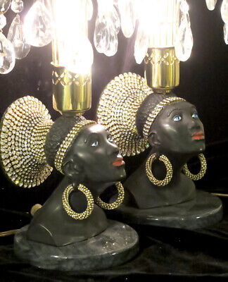 PR Vintage Jeweled Art Deco NUBIAN African Queen blackamoor Lamps Spelter Brass