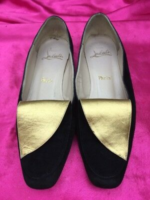 1a3f0f49e7df Christian Louboutin black Suede   Gold Metallic 36.5 flats loafer Paris 6.5