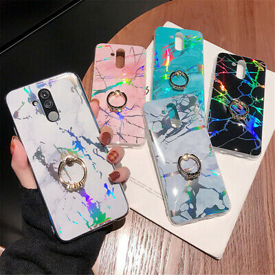 Marble Shockproof Ring Holder Case For Huawei P20&Samsung S10 S9 S8Plus Note 8 9