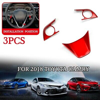 3xRed ABS Steering Wheel Cover Trim For Toyota Corolla Camry Hatchback 2018-2019