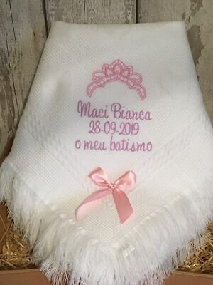 Personalised Baby Blanket  shawl christenings Newby   CROWN DESIGN Any colour