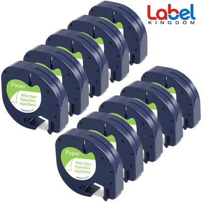 10 x LetraTag LT 91330 91200 Compatible with DYMO Label Tape White Paper 12mm