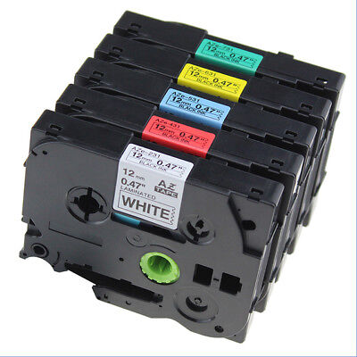 5 TZe231 TZe431 TZe531 TZe631 731 Compatible for Brother P-Touch 12mm Label Tape