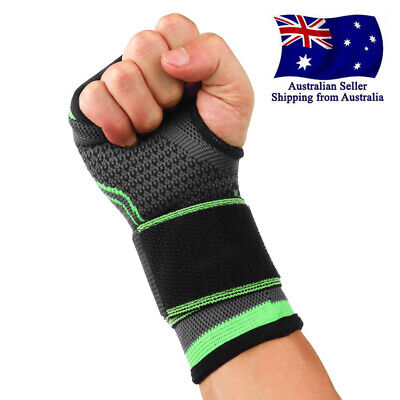 WRIST SUPPORT Brace Pain Relief Strap Wrap Carpal Tunnel Sprain RSI Gym Sport AU