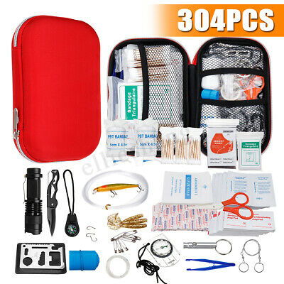 304PCS Complete ARTG First Aid Kit Survival Bag Sticker Family Car Camping Case