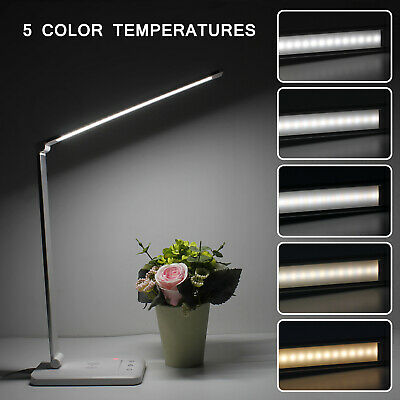LED Tischleucht Schreibtischlampe Dimmbare Touch USB-Ladefunktion m. LCD-Display