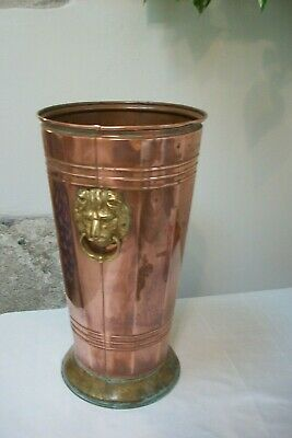 Vintage French Copper stick stand Lions Head walking umbrella