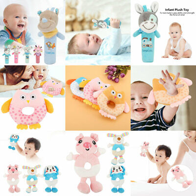 Plush Baby Toy Hand Bell Soft Doll Animal Kids Rattle Educational Rattles Cartoo