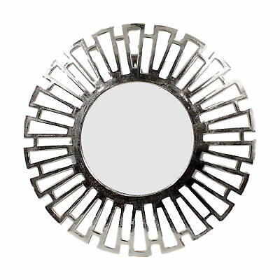 Contemporary Metal Frame Round Sunburst Wall Mirror Silver Large Modern 60cm