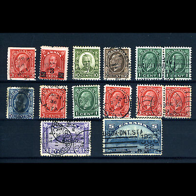 CANADA King George V Selection. 14 Values. Condition Mixed. (AF089)