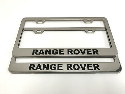 2x RangeRover STAINLESS Chrome License Plate Frame w//screw Caps