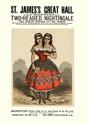 Victorian Circus Act Millie & Christine The Two Headed Lady  A3 Poster Reprint