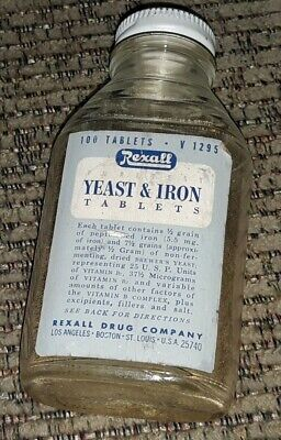 REXALL DRUG STORE Yeast and Iron Tablets GLASS BOTTLE ADVERTISING old ANTIQUE