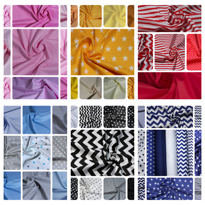 100% Cotton Fabric 160 cm wide By Metre Craft Quilting Colours Plain Sheeting