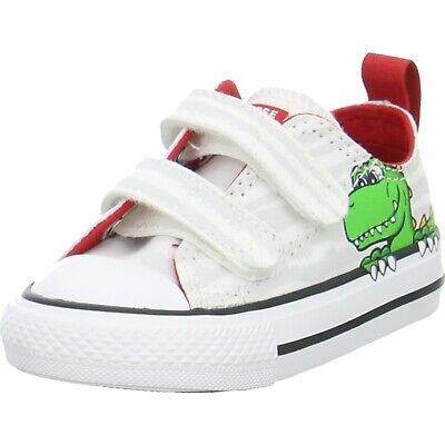0213def013308 Converse Kinder Sneaker Low CT AS 2V OX Weiß Multi Textil Dinosaurier