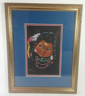 Pastel Painting Hazel Ostrom Native American Indian Girl Child Portrait Framed