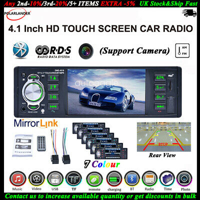 4,1'' 1 DIN RDS AM FM Autoradio Touch Screen Stereo Bluetooth SD Lettore MP5 AUX