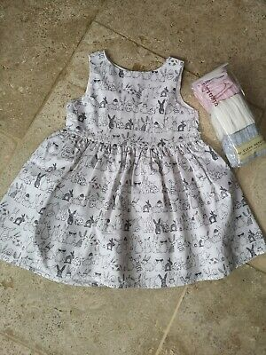 Vgc Next Rabbit Print Dress & 3 Pairs Of New Matching Tights 9-12 Months