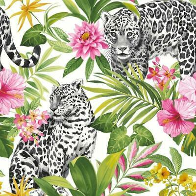 Tropica Jungle Leopard with Green and Pink Palm Leaves Wallpaper FD42471
