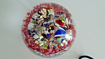 Vintage William Zick Style  Art Glass Mottled Flowers Paperweight