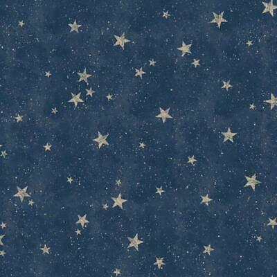 Starlight Navy Blue and Gold Stars Wallpaper by Crown M1490