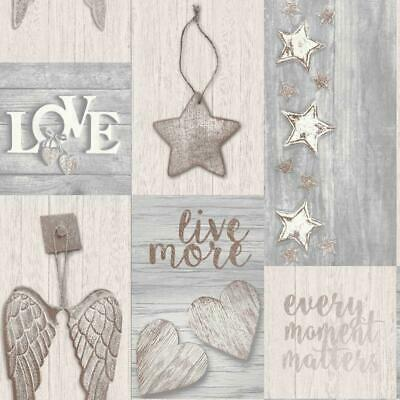 Starlight Home Grey and Rose Gold Novelty Wood Collage Wallpaper M1488