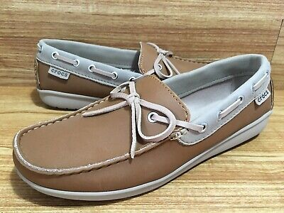 4f9919f29c9 Crocs Sz 7 Wrap ColorLite Loafer Boat Shoes Hazelnut Tumbleweed Brown NEW
