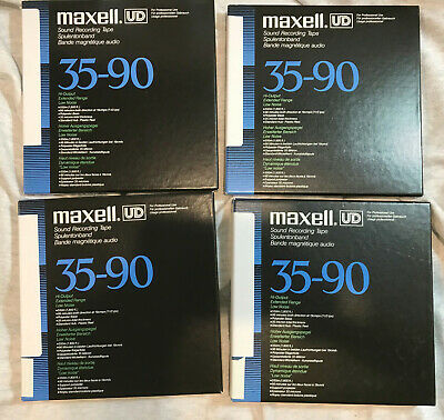 LOT OF 4 Maxell Reel to Reel Tapes: UD 35-90 Maxell boxes, bags + reels + bonus