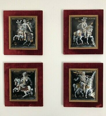 4 PAINTED ENAMEL PLAQUES OF ROMAN EMPERORS ON HORSEBACK, JAQUES LAUDIN I or II