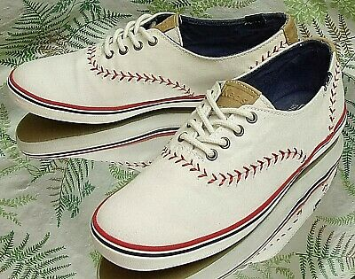 329c8cba476 Keds White Canvas Sneakers Red Baseball Stitch Design Shoes Mocs Womens Sz  6.5