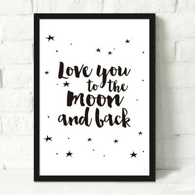 'Love You to The Moon and Back' Canvas Nursery Art Prints Kids Room Gift DecorBS