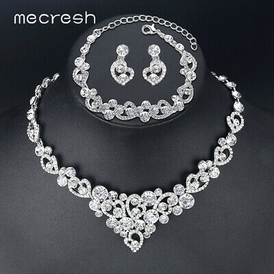 Mecresh Silver Teardrop Bridal Jewelry Sets Wedding Necklace Earring Set Mtl506 Clothing, Shoes & Accessories
