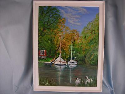 "Framed Original Acrylic painting on panel 12"" x 16"", 'Norfolk Broads' Phil Lynes"