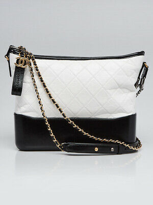 5b227ea8a99a CHANEL WHITE/BLACK QUILTED Leather Medium Gabrielle Hobo Bag ...