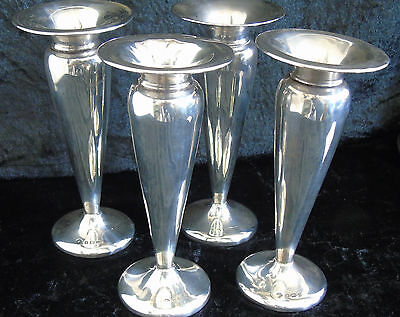 Set Four Posy Vases Sterling Silver