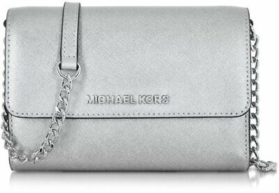 29b0378653d0 $248 NWT Michael Kors Mercer Med Leather Smartphone Crossbody Messenger  Silver